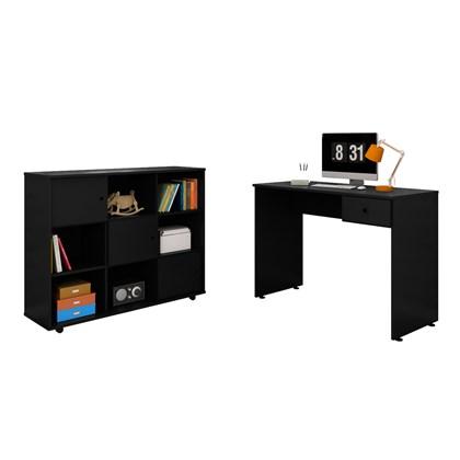 Mesa para Computador Escrivaninha Dubai e Nicho Multiuso Amã L03 Preto - Mpozenato