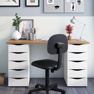 Mesa para Computador Escrivaninha Due Web Nogal/Branco - Artany