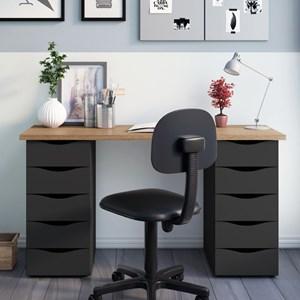 Mesa para Computador Escrivaninha Due Web Nogal/Preto - Artany