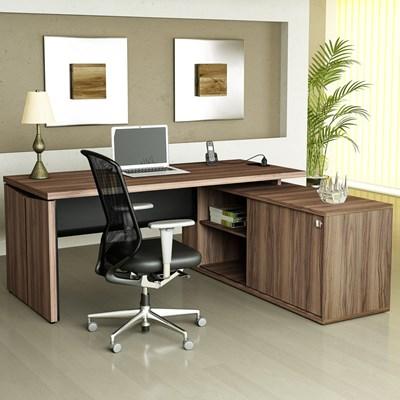 Mesa Para Computador Escrivaninha em L 1600 Y37 Conect Nogal/Preto - Artany