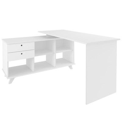 Mesa Para Computador Escrivaninha Em L Gold 2 Gavetas e Nichos Branco - Artany
