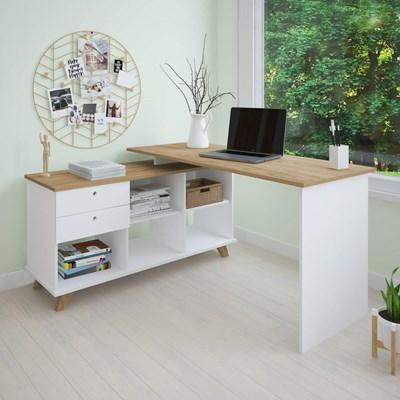 Mesa Para Computador Escrivaninha Em L Gold 2 Gavetas e Nichos  Branco/Olmo - Artany