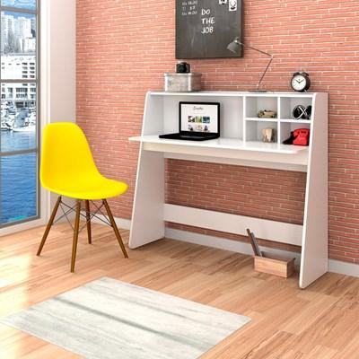 Mesa para Computador Escrivaninha Idealle Branco e Cadeira Charles C09 Amarela - Mpozenato