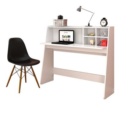 Mesa para Computador Escrivaninha Idealle Branco e Cadeira Charles C09 Preta - Mpozenato