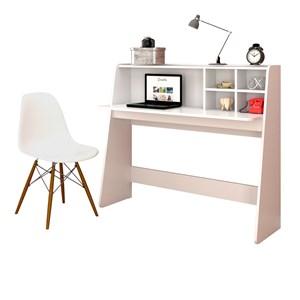 Mesa para Computador Escrivaninha Idealle e Cadeira Charles Branco - Mpozenato