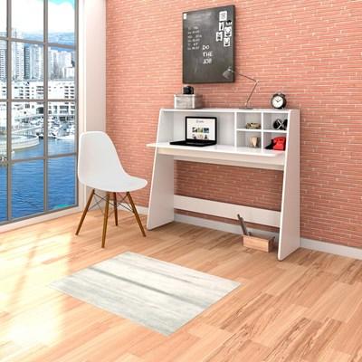Mesa para Computador Escrivaninha Idealle e Cadeira Charles C09 Branco - Mpozenato