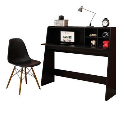 Mesa para Computador Escrivaninha Idealle e Cadeira Charles C09 Preto - Mpozenato