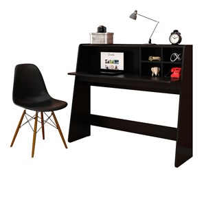 Mesa para Computador Escrivaninha Idealle e Cadeira Charles Preto - Mpozenato