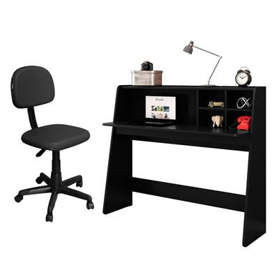 Mesa para Computador Escrivaninha Idealle e Cadeira Giratória CS-02 C10 Preto - Mpozenato