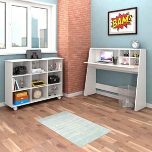 Mesa para Computador Escrivaninha Idealle e Nicho Multiuso Toys Branco - Mpozenato