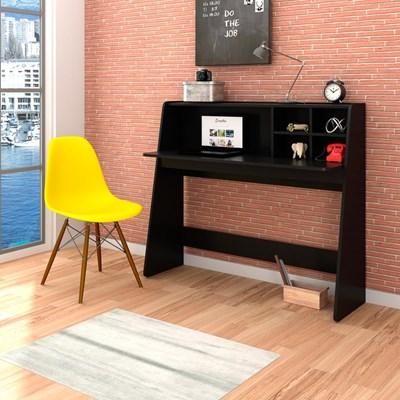 Mesa para Computador Escrivaninha Idealle Preto e Cadeira Charles C09 Amarela - Mpozenato