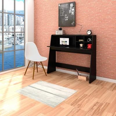 Mesa para Computador Escrivaninha Idealle Preto e Cadeira Charles C09 Branca - Mpozenato