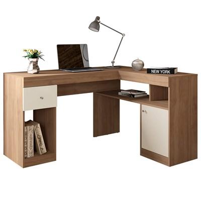 Mesa Para Computador Escrivaninha Nilo Buriti/Off White - Caemmun