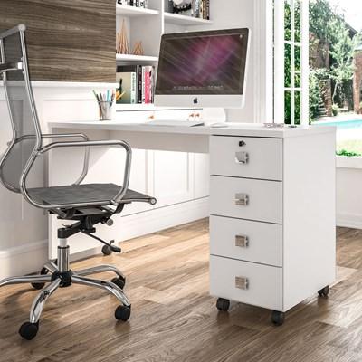 Mesa Para Computador Escrivaninha Office 4 Gavetas Dubai Branco - Lukaliam Móveis
