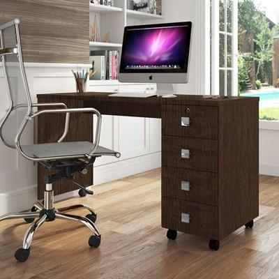 Mesa Para Computador Escrivaninha Office 4 Gavetas Dubai Noce - Lukaliam Móveis