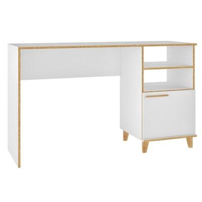 Mesa para Computador Escrivaninha Olslo BC67 1 Porta Branco/Pinus - BRV