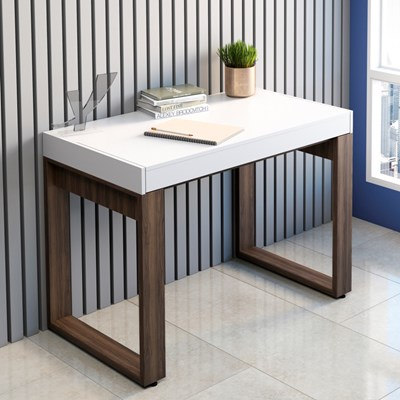 Mesa para Computador Escrivaninha Squadra Web Nogal/Branco - Artany