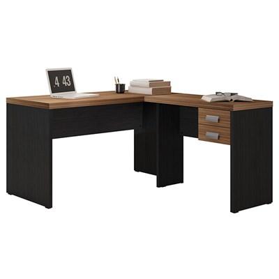 Mesa Para Computador Escrivaninha Studio L  2 Gavetas Argan/ Preto TX - Caemmun