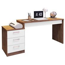 Mesa Para Computador Escrivaninha Versátil Petrópolis Avelã/Branco - Móveis Leão