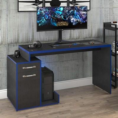 Mesa para Computador Gamer 1 Porta 1 Gaveta Flex Shark C08 Preto Ônix/Azul - Mpozenato