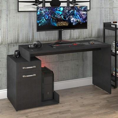 Mesa para Computador Gamer 1 Porta 1 Gaveta Flex Shark C08 Preto Ônix/Preto - Mpozenato