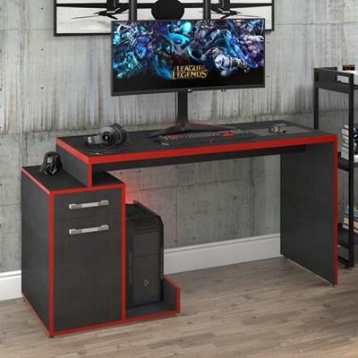 Mesa para Computador Gamer 1 Porta 1 Gaveta Flex Shark C08 Preto Ônix/Vermelho - Mpozenato
