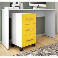 Mesa Para Computador Gávea com Gaveteiro Pietra Branco/Amarelo - Móveis Leão