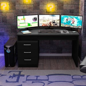 Mesa para Computador Notebook Desk Game DRX 5000 Preto - Móveis Leão