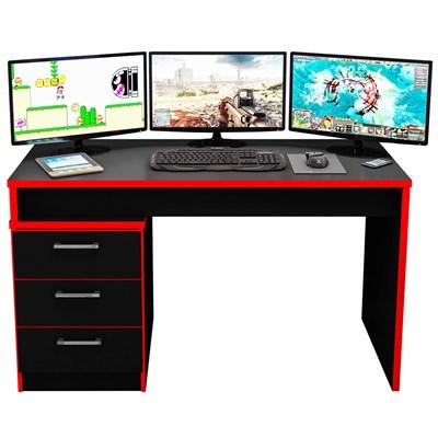 Mesa para Computador Notebook Desk Game DRX 5000 Preto/Vermelho - Móveis Leão