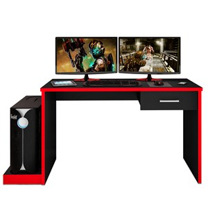 Mesa para Computador Notebook Desk Game DRX 9000 Preto/Vermelho - Móveis Leão