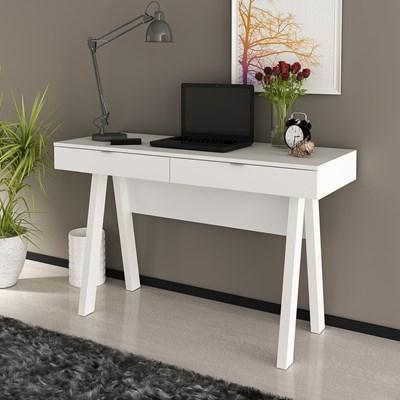 Mesa Para Escritório 2 Gavetas ME4128 Branco - Tecno Mobili
