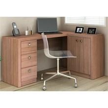 Mesa Para Escritório 2 Portas 3 Gavetas ME4100 Amêndoa - Tecno Mobili