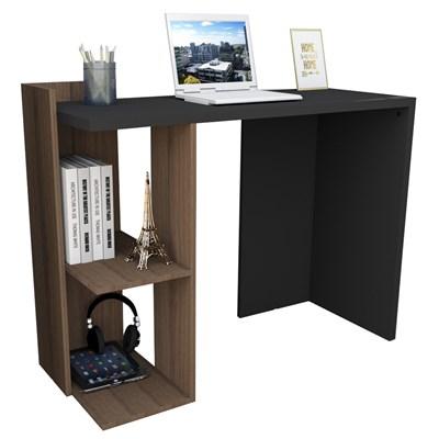 Mesa para Escritório com 2 Nichos ESC 4007 Sense Nogueira/Preto - Appunto