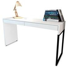 Mesa Para Escritório Desk 2 Gavetas Branco - Fit Mobel