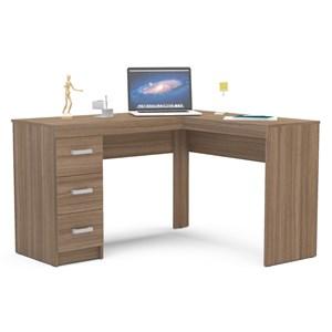 Mesa Para Escritório Escrivaninha 3 Gavetas Fênix Castanho - Politorno