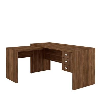 Mesa para Home Office com 03 Gavetas Nogal -Tecno Mobili