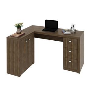 Mesa para Home Office com Gavetas e 2 Portas Nogal - Tecno Mobili
