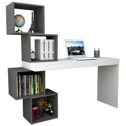 Mesa para Notebook Escrivaninha 4 Nichos ESC 3004 Branco/Grafite - App