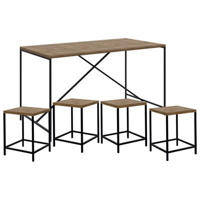 Mesa Para Sala de Jantar e 4 Banquetas Baixas Steel Quadra Vermont Base Preta - Artesano