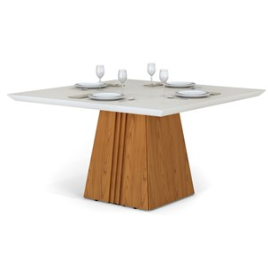 Mesa para Sala de Jantar Itália 140cm Carvalho/Off White - Dj Móveis