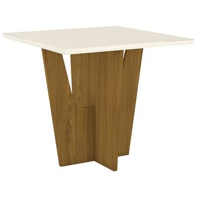 Mesa para Sala de Jantar Quadrada 90cm Vértice Nature/Off White - Henn