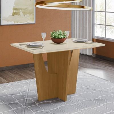 Mesa para Sala de Jantar Retangular 120cm Vértice Nature/Off White - Henn