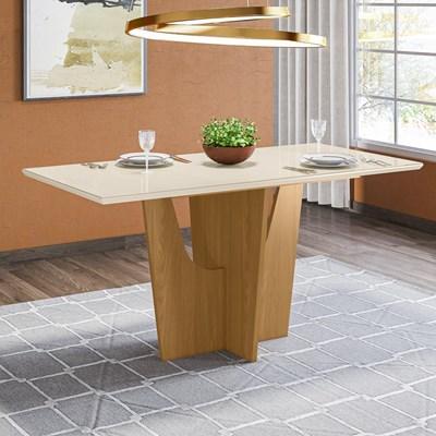 Mesa para Sala de Jantar Retangular 160cm Vértice Nature/Off White - Henn