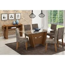Mesa Para Sala de Jantar Vitória com 6 Cadeiras Milena e Aparador Iris Savana/Stone - Cimol Móveis