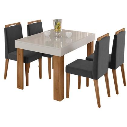 Mesa Retrátil Lena e 4 Cadeiras Para Sala de Jantar Alana N04 Off White/Cinza/Ipê - Mpozenato