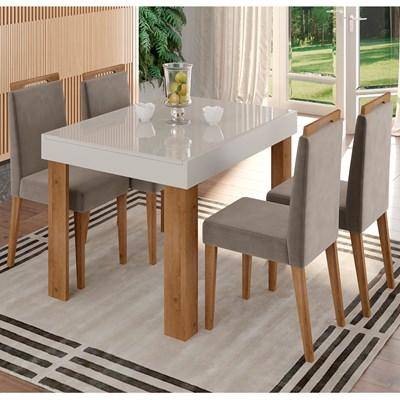 Mesa Retrátil Lena e 4 Cadeiras Para Sala de Jantar Alana N04 Off White/Vanilla/Ipê - Mpozenato