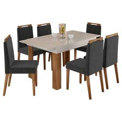 Mesa Retrátil Lena e 6 Cadeiras Para Sala de Jantar Alana N04 Off White/Cinza/Ipê - Mpozenato