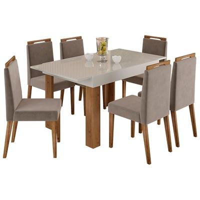Mesa Retrátil Lena e 6 Cadeiras Para Sala de Jantar Alana N04 Off White/Vanilla/Ipê - Mpozenato