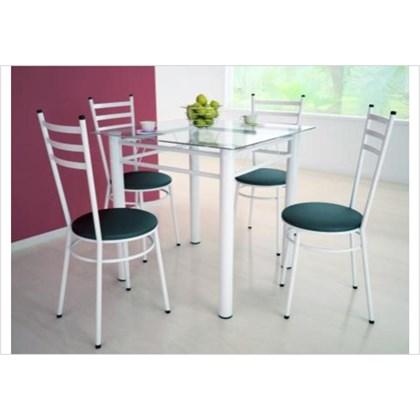 Mesa Tulipa Branco com 4 Cadeiras com Assento Corino Preto - Marcheli