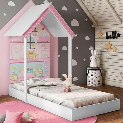 Mini Cama Infantil Casinha Montessoriana Casa de Boneca MDF com Colchão P13 Zoe Branco - Mpozenato